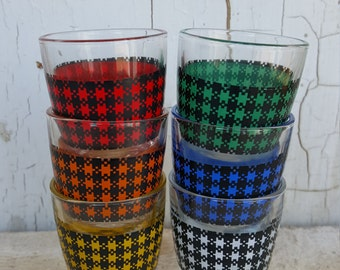 Shot Glass Set of Six Plaid Houndstooth Mulit Color France