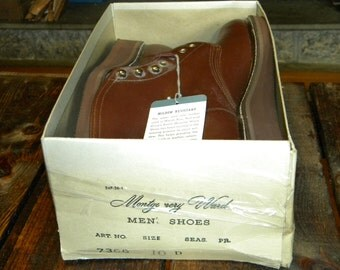 1950's Men's Vintage Work Boots, By Montgomery Ward, Brown, 10 D, New / Deadstock, Made in USA, Still in Original Box