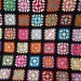 Vintage Handmade Granny Square Afghan Lap Blanket Multi-Color Black Good Condition One Square Unraveling See Photos