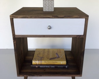 Mid century inspired dark walnut nightstand with white drawer. modern side table, Wood end table with drawer, Pine side table