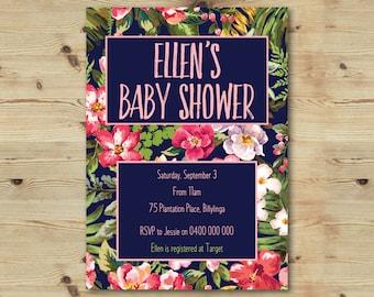 Baby Shower Invitation - Vintage Floral - Floral - Navy Blue