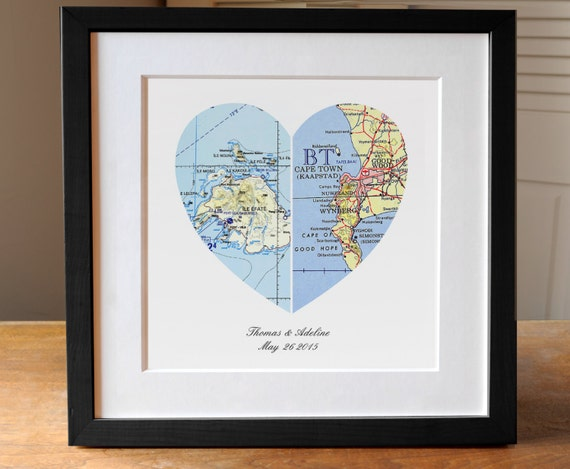 First Wedding Anniversary Gifts For Couple: Anniversary Gift Wedding Gift Map Art Heart Map Engagement