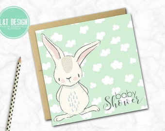 Baby Shower Card {Bunny Clouds}