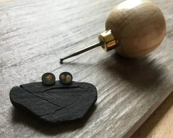 Gold Spore Post Earrings in Recycled Sterling + 14k