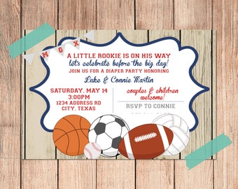 Rustic Sports Baby Shower 4x6 Invitation - PRINT AT HOME