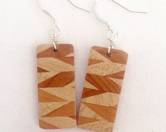 Handmade Geometric Zigzag Wooden Dangle Earrings