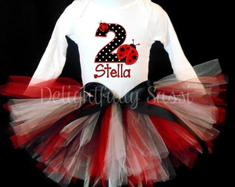 Ladybug Tutu, Ladybug Birthday Tutu, Birthday Tutu, Red and Black Tutu, Girls Tutu