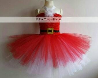 Red and White Santa Christmas Tutu Dress