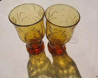 Set of 2 Large Amber Libbey Drinking Glasses