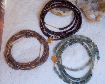 14k Solid Gold and Gemstone Layering Necklaces