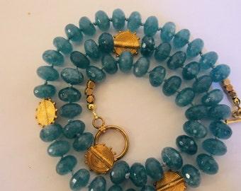 24k Gold Vermeil Ariadne Disc and Aquamarine Romanesque Necklace