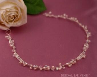 Bridal Tiara Forehead Headband - Hair Vine Ivory, Crystals &  Flowers - Boho  UK