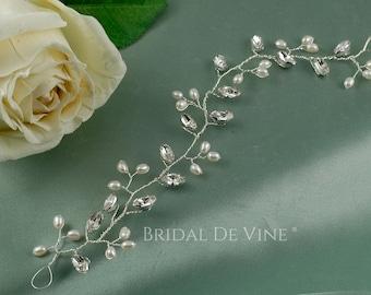 Freshwater Pearl & Crystal Bridal Hair Vine  Leanore CRYSTALLIZED™ - Swarovski Elements