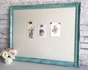 Large magnetic board - turquoise ornate frame - fabric covered board