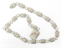 "Vintage Bohemian Southwestern Silver Toned Concho Link Belt // Up to 34"" Waist"