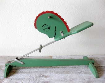Vintage Rocking Steel Spring Bouncing Wooden Green Hobby Horse Ride On