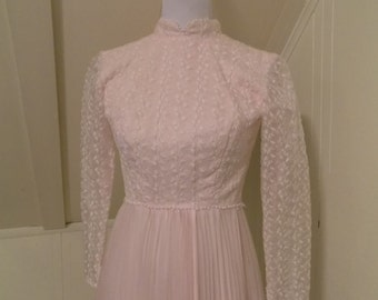 Vintage 1960s 1970s Sylvia Ann Pink Special Occasion Dress Gown Small Size 4 6