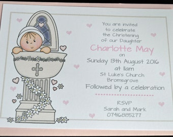 10 x Personalised Baby Girl Christening Invitations Goddaughter Daughter Granddaughter Niece
