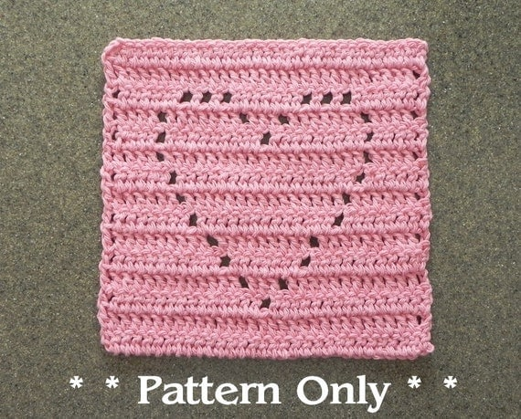 Knitted Quilt Block Patterns : Crochet heart pattern for dishcloth wash cloth quilt block