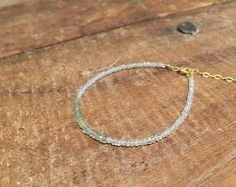 Aquamarine faceted rondelle bracelet