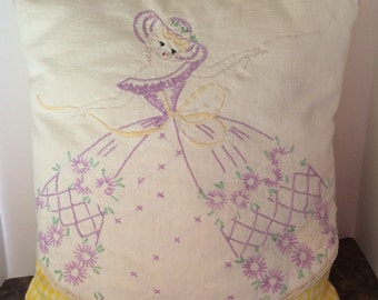 Adorable Repurposed Embroidered Southern Belle Linen Pillow with Yellow Gingham