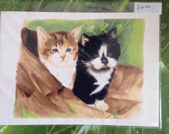Kittens Drawing print, Kitten Gift,Nursery Art,Baby Cat print, Cat lover Print,Feline Print