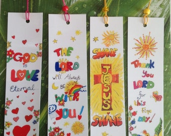 4 Christian Bookmarks,Bible Verse,Sunday School Bookmarks,Religious bookmarks ,Printed,Laminated Bookmarks