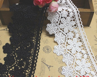 2 yard White Black Lace Trim Floral Exquisite  Embroidered Lace 3.34 Inches Wide