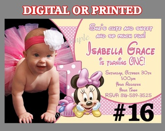 Minnie Mouse First Birthday Party Invitation with photo YOU Print Digital File or PRINTED 1st Birthday