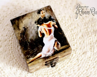 Jewelry box, wooden box, handmade, gift box, gift for her, wedding gifts, jewelry storage, decoupage, unique gift, jewelry case, romantic