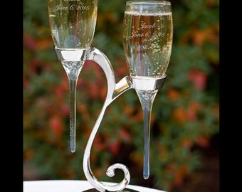 Personalized Wedding Flutes Champagne Glasses Raindrop Toasting Glasses Engraved Ceremony Reception