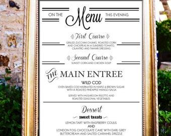 Menu, Wedding Menu Poster, Wedding Menu Sign, Printable Wedding Menu, Chalkboard Wedding Menu Poster, Menu poster board, Wedding Menu