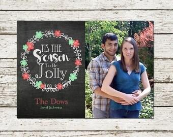 Christmas Photo Card Printable Chaklboard Holiday Greeting Cards tis the season red and green digital file download seasonal