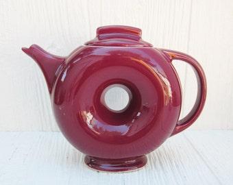 Vintage Hall Teapot, Burgundy Hall Donut Teapot Made in USA, Hall China Pottery, Vintage Kitchen Decor, Donut Decor