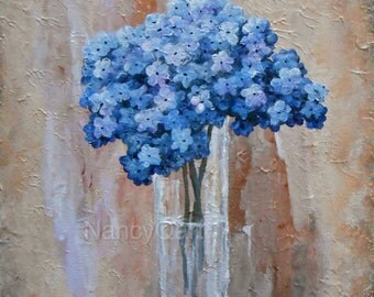 Blue flower painting, original hydrangea painting, canvas floral art, original painting by Nancy Quiaoit at NancyQart