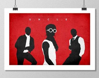 "THE MAN FROM U.N.C.L.E. Inspired Minimalist Movie Poster Print - 13""x19"" (33x48 cm)"