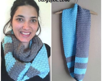 Beachfront Shell Scarf, Beach Inspired Scarf, Crochet Scarf, Gift for Her, Color Block Scarf, Turquoise and Gray Scarf, MADE TO ORDER