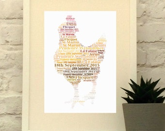 Chicken Personalised Print, modern farm house, Chicken art, Hen art, Custom Print, Wall Art, Typographic Print, Chicken gift, Kitchen art