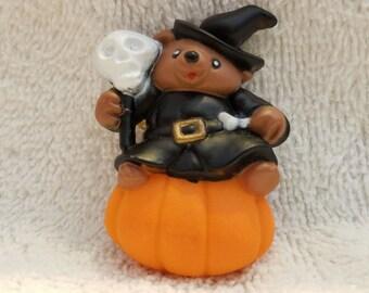 Vintage Halloween Pin - Bear on Pumpkin
