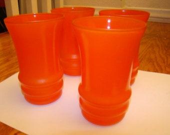 Set of 4 Orange/Red Glassware