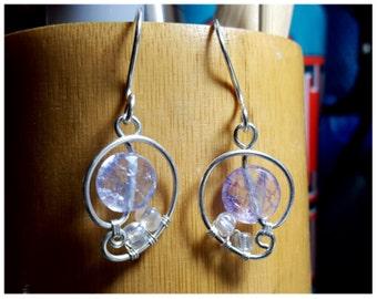 Purple glass bead silver wire wrapped earrings