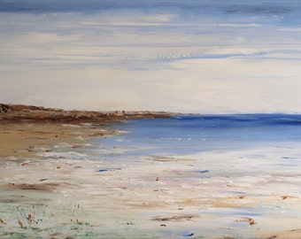 """XL Contemporary Original Impressionist Textured Seascape, Palette Knife Painting Canvas, Home decor, Wall art, Acrylic painting 48"""" x 24"""""""