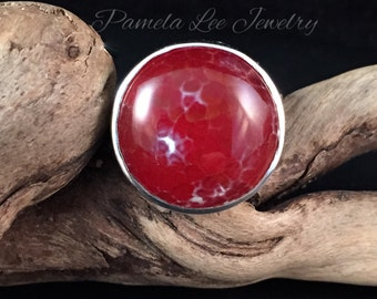 Spiderweb Agate in Sterling Silver Ring Size 7.5