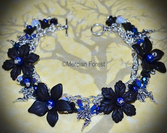 Midnight Fairy Bracelet - Pagan Jewellery, Wicca, Witch, Goth, Gothic, Fae
