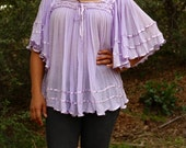 Periwinkle Lace and Crotchet Mexican Manta Top