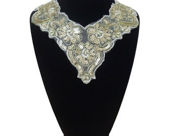 Embroideries with Gold Sequined collar lace applique