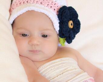 Girls crocheted newsboy, girls spring hat, baby accessory, baby gift, photo prop, summer hat