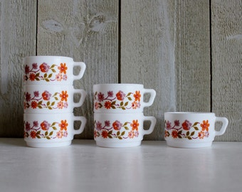 Arcopal cups. Milk glass cups. Arcopal France. Scania. Coffee cup. Vintage Arcopal. Made in France. Orange flowers// D242