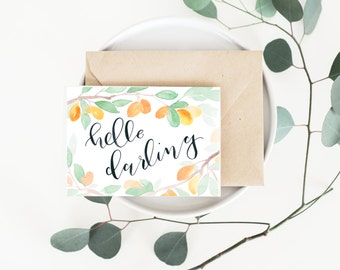 Hello Darling Greeting Card - Thinking of You card