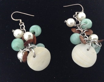 Vintage Bead Earrings with mother-of- pearl discs and blue/ pearl/ brown beads   - from 1970s